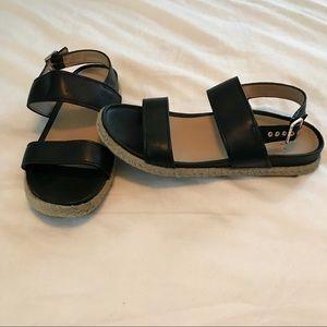 Vionic Black Leather Espadrille Sandal